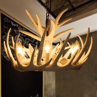 antler pipe - 6 Lights Antler Pendant Lamp Resin White Deer Horn Antler Lampshade Living Room Decor Suspension Luminaire Living Room Light Fixture