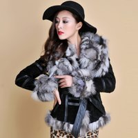 leather and fur garment - Real Leather Coat overcoat with fox fur silver fox collar and trim jacket outwear garment winters womens coat R