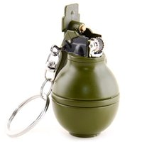 Wholesale YSW Mini Keychain Style Grenade Shaped Zinc alloy Decorative Gas cigarette isqueiro cool lighters Recommend