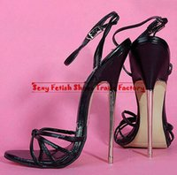 Wholesale Hot New Extreme high heel cm high heel PU patent leather Sexy fetish High Heel BUCKLE STRAP sex lady SANDAL with metal heel stiletto heel