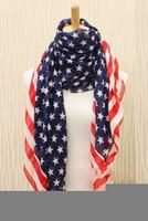 american flag scarf - Top Fashion Men Women American Flag Pentagram Chiffon Scarf Fashion Scarves