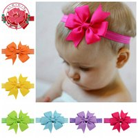 Wholesale Infant Bow Headbands Girl Flower Headband Children Hair Accessories Newborn Bowknot Flower Hairbands Baby Photography Props colors G016