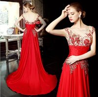 Wholesale New Stunning Classic Red Wedding Dresses Empire Waist Applique Beading Pearl Sweep Train Bridal Evening Gowns Chiffon Satin h01