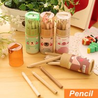 Wholesale 48 in case mini Color wood pencil for kid Cute bear colored pencils lapiseira stationery school supplies