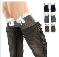 100 % wool socks - 9 Color Fashion Knitting Lace Socks Women Wool Short Socks Lady Boots Socks Multicolor Lace Leggings Kneepad A113D3