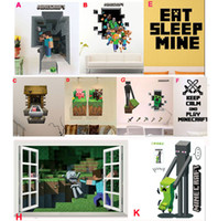baby creepers - 2015 Minecraft Wall Cling D Decal Sticker Vinyl Decor Minecraft STEVE MINING CREEPER ENDERMAN BABY PIG COW home decol retail free shippi
