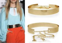 alloy waist chain - Fashion Women Full Gold Silver Metal Mirror Waist Belt Metallic Gold Plate Wide Obi Band With Chains