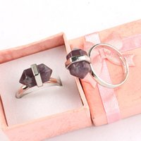 amulet rings - Charm Mini Amethyst Onyx Aventurine etc Natural Stone Hexagon Prism Adjustable Rings Accessories European Fashion Jewelry Reiki Amulet