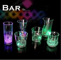 acrylic tumbler cups - Beverage Sensor Led Cup Transparent Acrylic Drink Cup Glass Water Mug Iced Tea Cup Tumblers Battery Included Bar Club Party Xmas Halloween