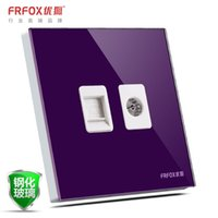 Wholesale Excellent Fox switch type wall switch socket C8 glass panel TV phone TV phone jack