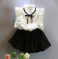 wholesale lace ribbon - Kid Girls Set Suit OL Striped Lace Cap Sleeve Ribbon Tops Solid Tiered Short Pantskirt Fashion Soft Casual Grace N1549