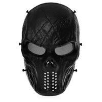achat en gros de équipement de paintball-Masque Visage Skull Protect Tactical Masques pour Masque Airsoft Paintball CS War Game Noir Chasse Outdoor Equipment Halloween Party