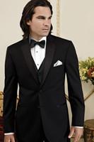 Wholesale New Design Notched Lapel Black Groom Tuxedos Groomsman Men s Wedding Dress Prom Clothing Jacket pants tie Vest