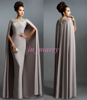 Wholesale 2016 Spring Janique Mother Of the Bride Pant Suits Silver Grey Sheath Crew Sheer Beaded Long Formal Dresses with Jackets Formal Party Gowns