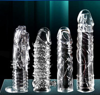 TPE soft rubber crystal sex toy - Crystal Penis Sleeve Increasing The Enlargement Cock Ring delay Ring Penis Extender Condoms Sex Toys Sex Products