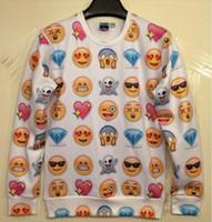 Compre Blusas emoji-QUENTE! O amor novo dos homens das mulheres / medo / cópia feliz / triste do emoji pulôver 3D / galáxia engraçada das camisolas da galáxia suéter das camisolas dos revestimentos das camisas novos chegam