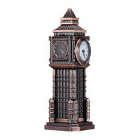 antique desk items - Analog Display Quartz Movement Desk Table Clock Artificial Art Europe Style Tower Shaped Built in A Watch Home Decor Sale Items