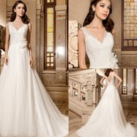 Cheap 2015 New A Line Wedding Dresses V Neck Low V-Back Sweep Train Appliques Hand Made Flower Sash Tulle Demetrios Bridal Dresses