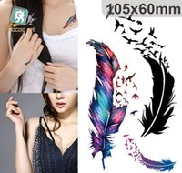Wholesale Tattoo Sticker Waterproof fashion styles feather Art Tattoos Stickers Tatouage Glitter Black Temporary Tatoo Removable