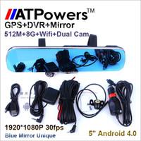Cheap H200 5'' 1080P Blue mirror Car rear view mirror DVR Camera Dual Camera Car DVR Camcorder Android GPS Navigation