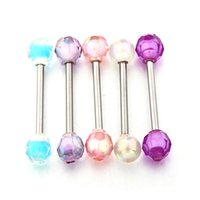 Wholesale 20Pcs G Tongue and Nipple Barbells with Multicolor Acrylic Balls L Surgical Steel
