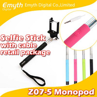 absolute cable - Absolute factory price Audio cable wired Z07 S Selfie Stick Extendable Handheld Monopod and play Cable Take Pole Wired for iPhone note
