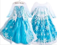 Wholesale 2014 Frozen Princess Dresses Blue Elsa Dresses With White Lace Wape Girls Pageant Dresses Fashion Frozen Dresses girl dresses DHL