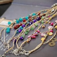 Wholesale ashion Jewelry Anklets Hot Fashion Charm Anklets Bohemian Raffia Handwork Color Natural Stone Weave Anklets for Women Gift Jewelry W