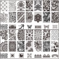 Wholesale New Black Flower Lace CM Nail Stamping Plates Konad Stamping Nail Art Manicure Template Nail Stamp Tools