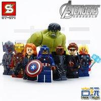 big ages - 8pcs Super heroes Avengers Age of Ultron Building Block Big Hulk Iran Man Captain minifigures kids Education Toys bricks SY271