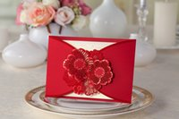 Wholesale 2015 New Red Laser Cut Wedding Invitation Cards Personalized Customized Printing