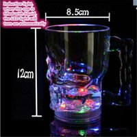 acrylic beer glass - Hot sell LED Crstal Glowing Skull Shape Acrylic Wine Glass Wedding Holloween Party Pub Beer Cup Mugs