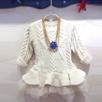 kids winter sweater - New Fashion Crochet Girls Sweater autumn winter Children Clothes Kids Knit Clothes Baby Girl Party Dress Christmas Dress Girls Dress