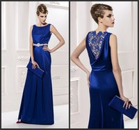Wholesale 2015 Long Gorgeous Mother s Dress Satin Beading Corset Sheath Mother Of The Bride Dress Sleeveless See Through Royal Blue Formal Dress Gowns
