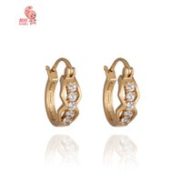 Wholesale New Fashion Hot Zircon Hoop Earrings for Women Ear Jewelry Brincos Crystal Gold Plated Wedding Accessories Hoop Earring
