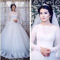 islamic wedding dress - High Neck Arabic Muslim Islamic Wedding Dresses A Line Plus Size Long Sleeves Vintage Lace Dresses Wedding Style White Bridal Gowns