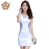 Wholesale 2015 embroidery short sleeve cheongsam pluz size improved cheongsam bride dress chinese traditional dress qipao
