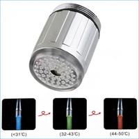 Wholesale glow led light faucet tap water led faucet lights Thermostat tricolor led kitchen mixer taps J14181
