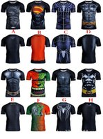 Wholesale 2016 Avengers Superhero Short Long Sleeve Black Adam Deadpool Batman T Shirt Sports Fitness Perspiration Fast Drying