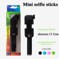 Wholesale Selfie Monopods Super Mini Selfie Sticks Portable Selfie Sticks Shortest mm Easy to Carry Colors Available Wired Foldable Selfie Sticks