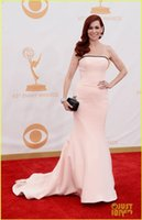 Wholesale Fashion Peach Pink Mermaid Strapless Red Carpet Celebrity Evening Dresses Emmy Awards Charming Pageant Party Prom Gowns Cheap Custom