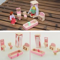 Wholesale Wooden Doll Bathroom Furniture Dollhouse Miniature For Kids Children Toy Gift