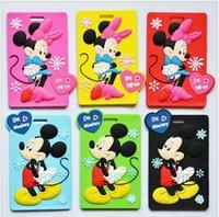 Wholesale 2015 New Mickey and Minne Cartoon Luggage Tag Card Holder for Travel Suitcase cartoon Luggage Bag Tag Name Tags LJJA2177