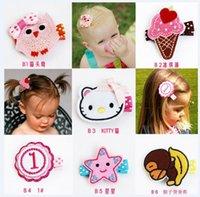 bear clip - 2015 Cute Children Girls Cartoon Animals Flower Embroidery Hair Clips Kids Girl Embroider Pins Barrettes Clip Floral Star Bears Owl D3710