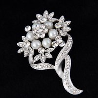 amber brooches - 2016 Brooch Bridal Silver Tone Faux Pearl Crystal Flower Pin Brooch Wedding Costume Jewelry Broach ZYY