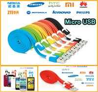 Wholesale 1M meter ft Micro V8 Noodle Flat Data USB Charging Cords Charger Cable Line M Micro USB Cable Cable for Samsung HTC Blackberry Android