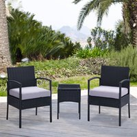 rattan outdoor furniture - Compact White Cushioned Outdoor Patio Furniture PE Rattan Wicker Set Black US stock