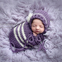 bags beanie baby - M Violet Handmade Crochet Cotton Newborn Photography Props Knitted Beanies and Sleeping Bag Baby accessories Studio Clothing