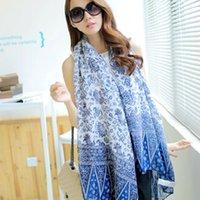 Wholesale Hot Retro Chinese Style Blue and White Shawl Scarf Cloak Pashmina Women Blanket Oversized Scarf Wrap Shawl Winter Scarves
