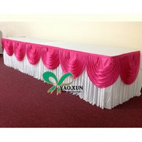 Wholesale Good Looking White Color Ice Silk Table Skirt With Fuchsia Color Swags For Wedding Decoration